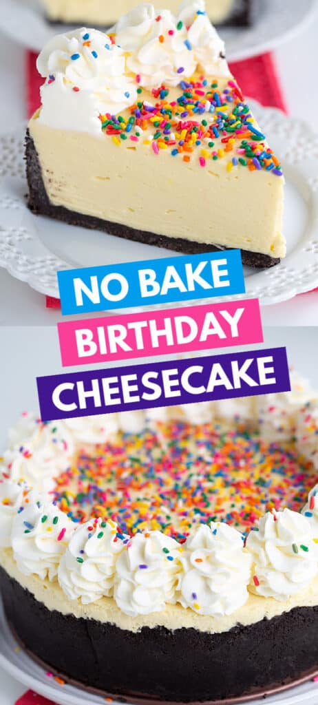 collage of images of no bake cheesecake with the recipe name in boxes in the center