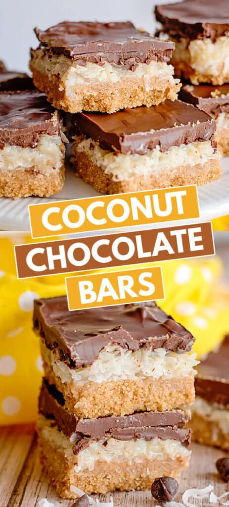 collage of photos of stacked coconut bars with yellow fabric and blocks of text in the middle