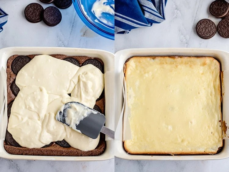 collage of adding cheesecake batter to the brownies and the baked cheesecake