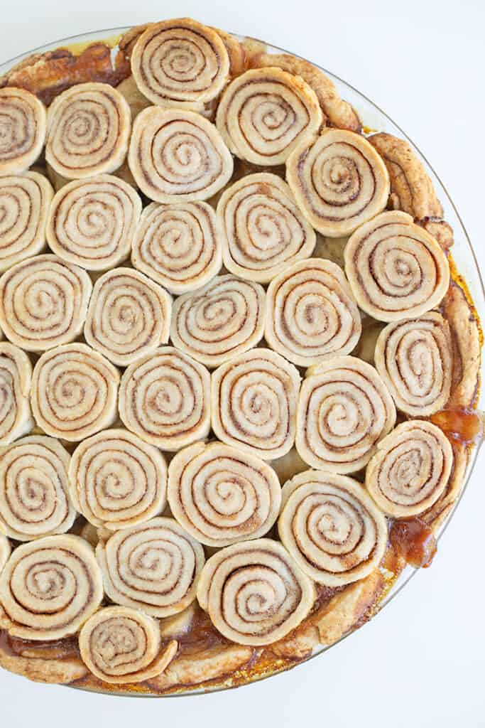photo showing cinnamon roll crust top on a white surfact