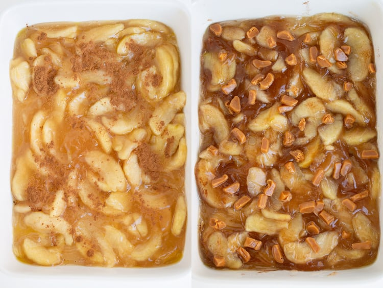 collage of the baking pan filling with apples and cinnamon and the other photo with caramel pieces added on top