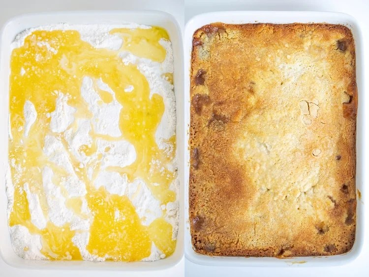 collage of two photos showing the butter and cake mix in the baking dish and the crust after it's baked