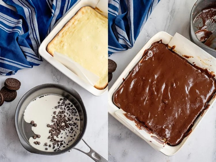 collage of a photo with chocolate chips and heavy cream in a saucepan and the next photo with the ganache on top of the cheesecake bars