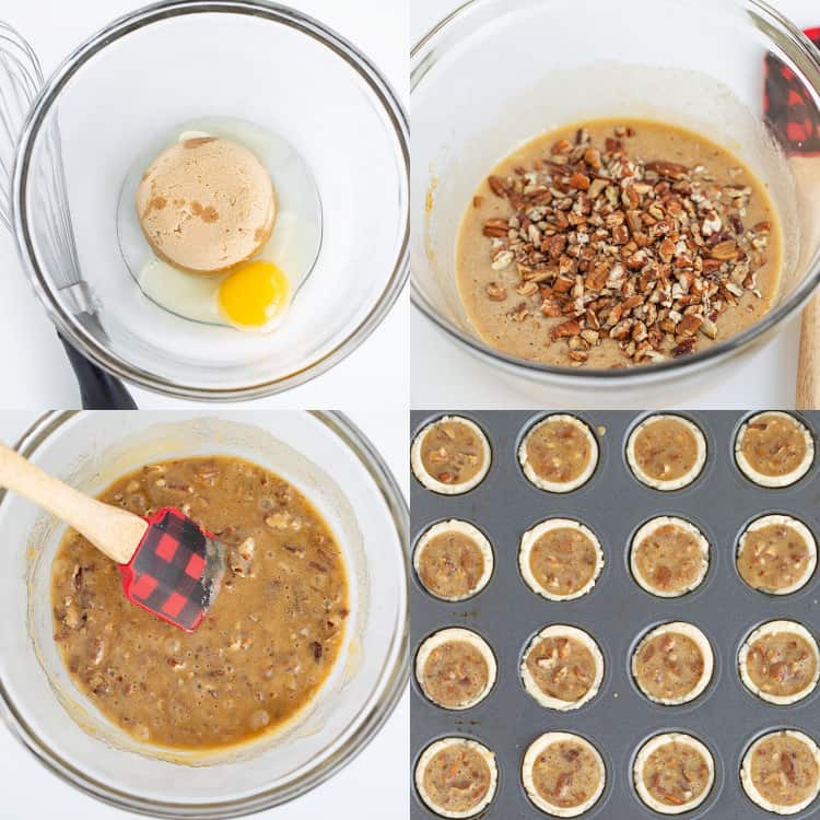 collage of step by step photos making the pecan tassie filling