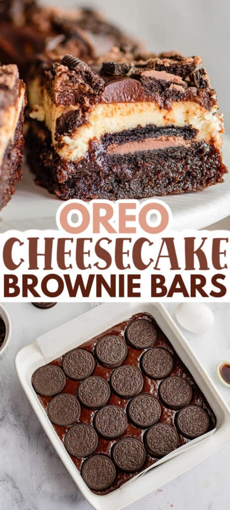 collage showing a slice of brownie bar and the in process of making the bars with text in the middle