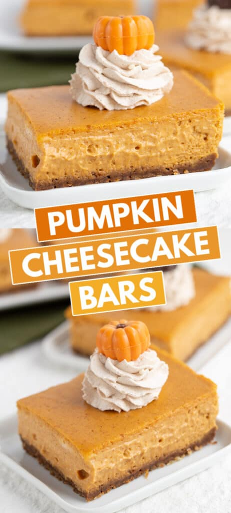 collage of two photos of a slice of pumpkin cheesecake bars with blocks of text in the middle