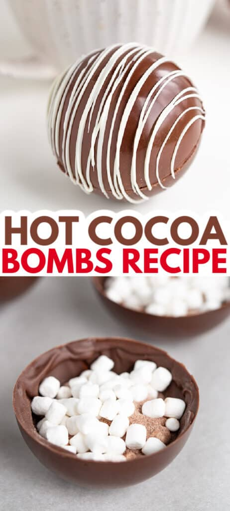 collage of photos with the hot cocoa bomb and the photo showing the inside of the bomb with text in the middle