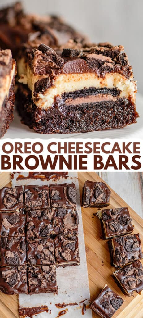 collage of brownie bar photos showing the top of the bars and the side of the bars with text in the middle