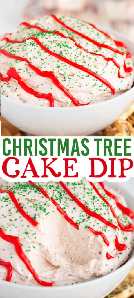 collage of two photos showing cake dip with text in the middle