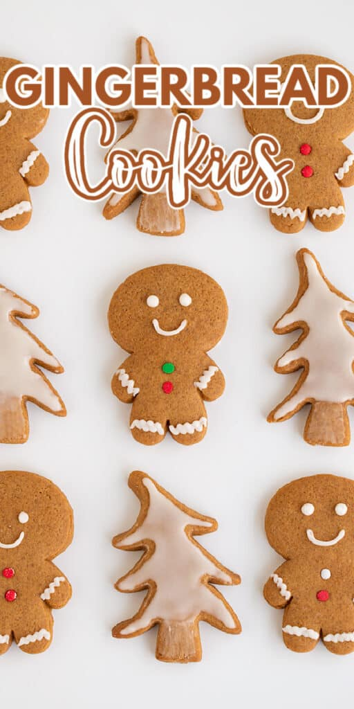 zoomed in image of gingerbread cookies on a white surface with the recipe name in text