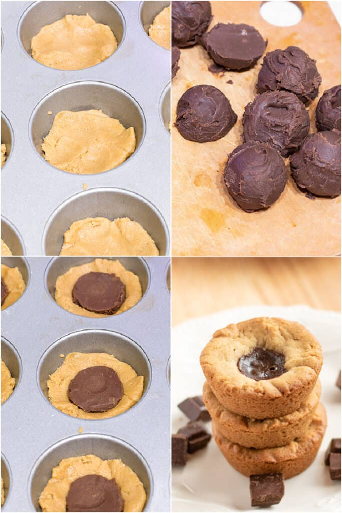 collage of photos showing the step-by-step photo process for the cookie cups