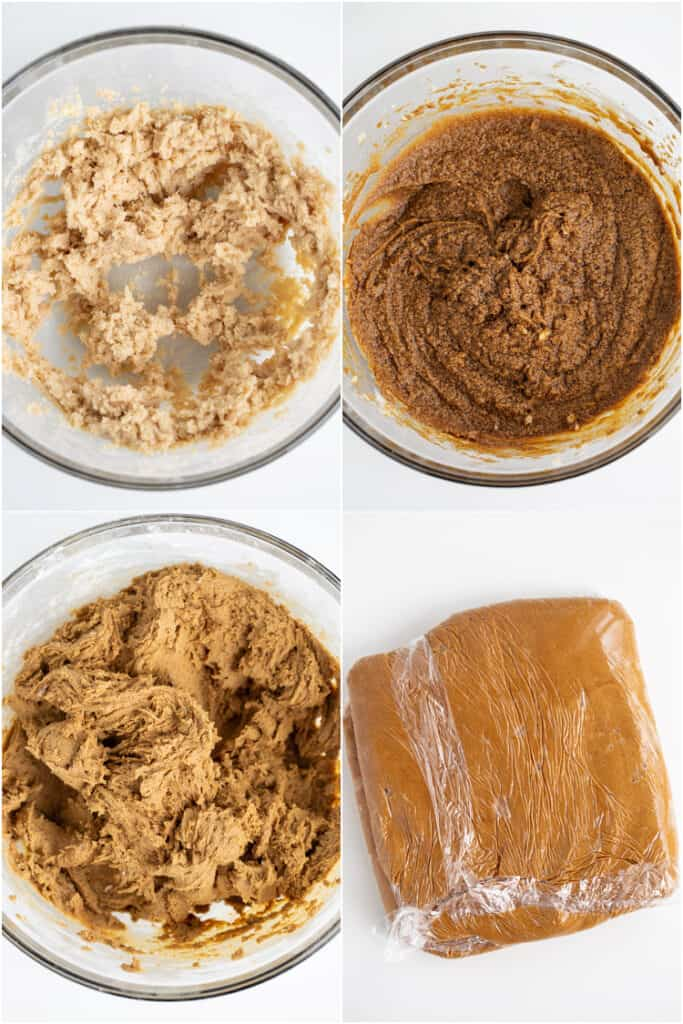 collage of photos on how to make the gingerbread cookie dough on a white surface