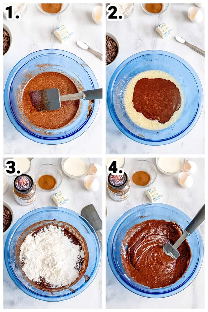 collage of photos adding ingredients to a blue bowl to make brownies