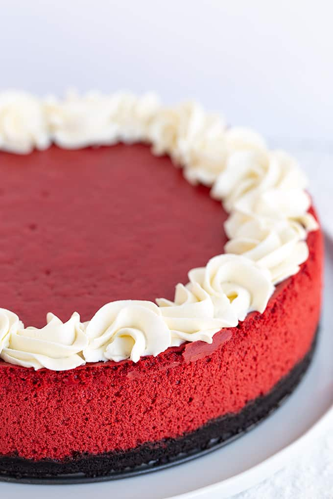 whole red velvet cheesecake on a large white plate with a white background