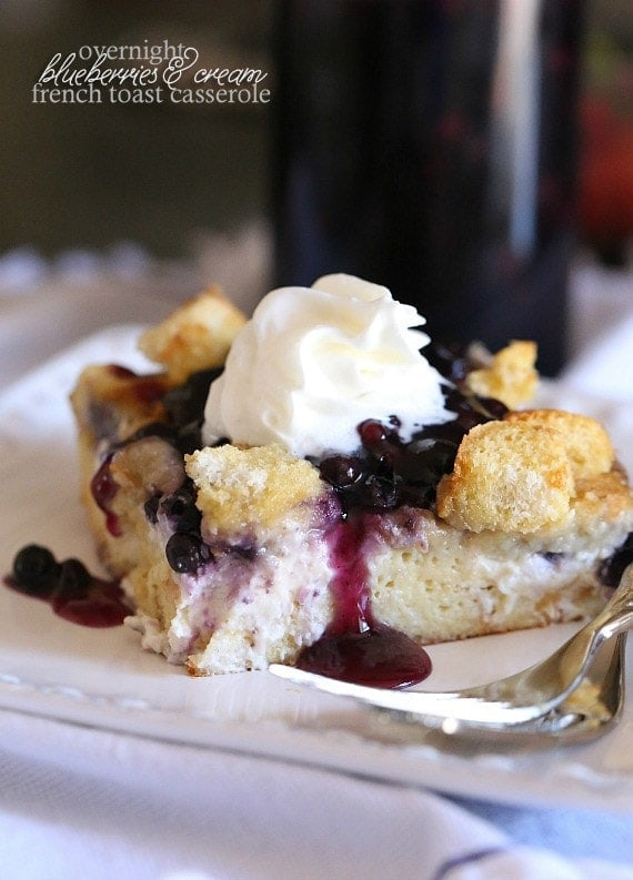 Overnight Blueberries and Cream French Toast Casserole