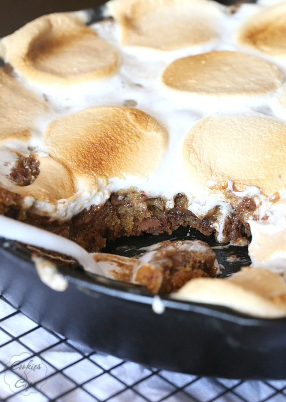 S'mores Skillet Cookie ~ A giant S'mores cookie baked in a skillet and topped with huge Campfire Marshmallows!