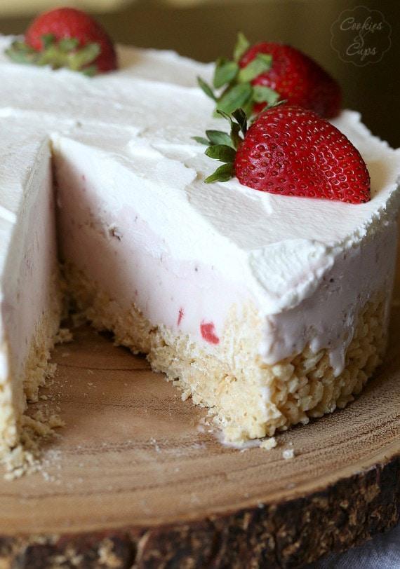 Strawberry Rice Krispie Treat Ice Cream Pie