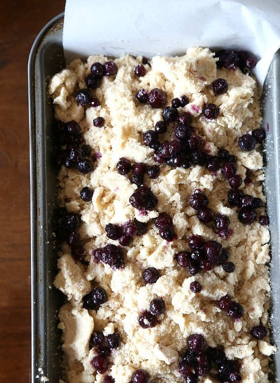 Blueberry Cobbler bread about to go into the overn!
