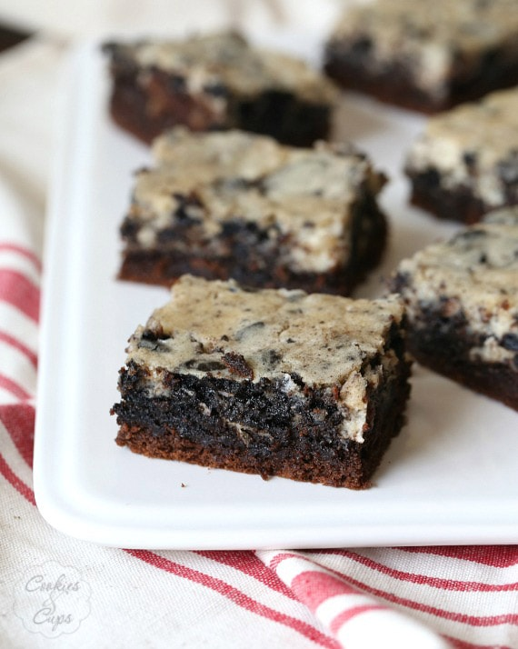 Cookies and Cream Chess Squares...they start with a cake mix and are so so easy!