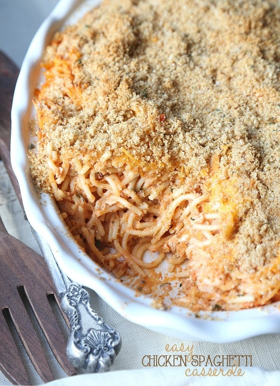 Easy Chicken Spaghetti Casserole. A simple and yummy dinner that can be whipped up quickly! Great to make and freeze too!