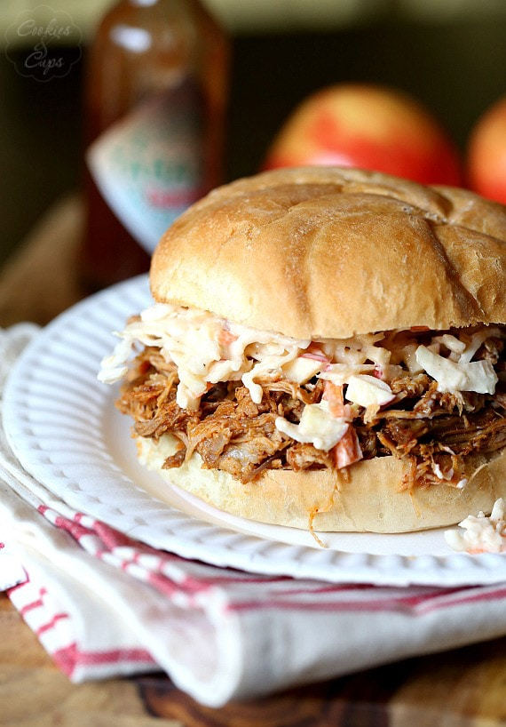 Slow Cooker Chipotle Pulled Pork with Apple Cole Slaw..perfect for making ahead! SO much flavor and not too spicy!
