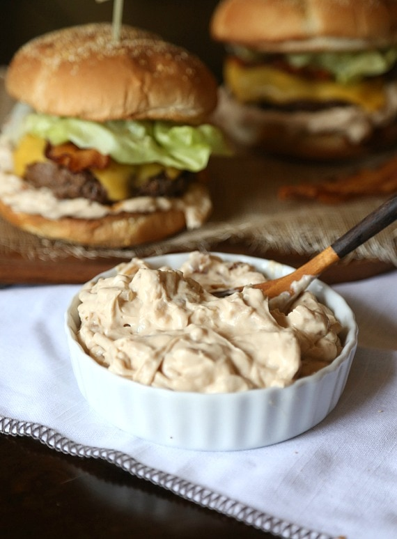 Classic Onion Soup Dip spruced up with caramelized Onions! It's a perfect topping for a burger!