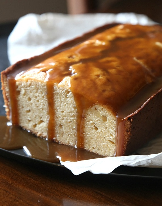 Buttery Brown SUgar Pound Cake with Salty Butterscotch Sauce to drizzle. SO good!