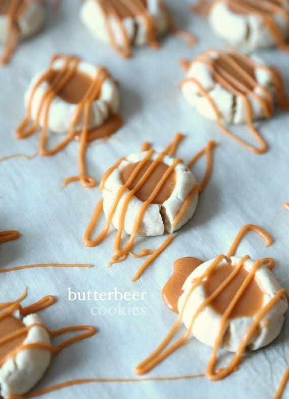 Butterbeer Cookies...A buttery shortbread Meltaway base topped with a creamy Butterscotch Ganache! Tastes like the perfect little bite of Harry Potter's Butterbeer!