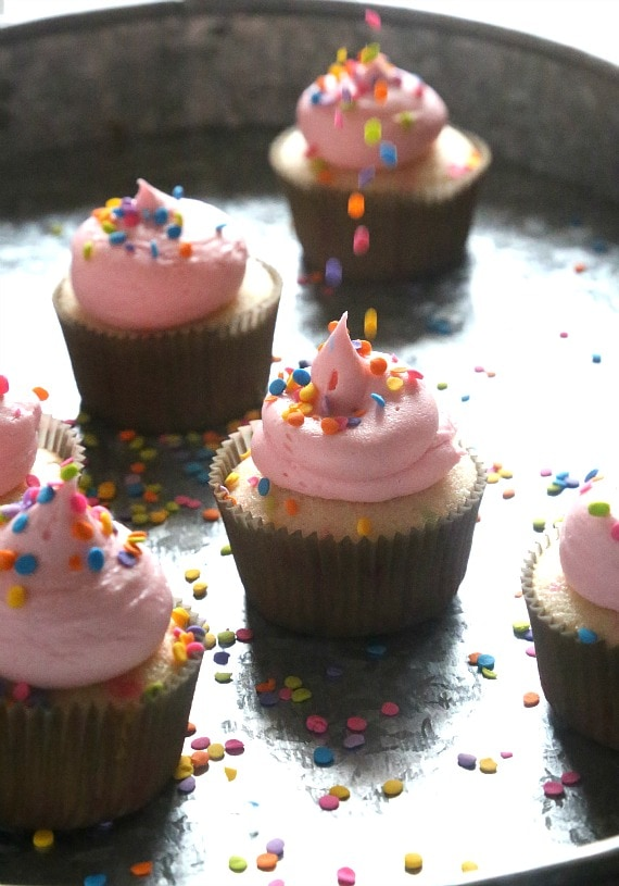 Confetti Cupcakes that are super soft, buttery and topped with sweet fluffy buttercream! The perfect party cupcake!