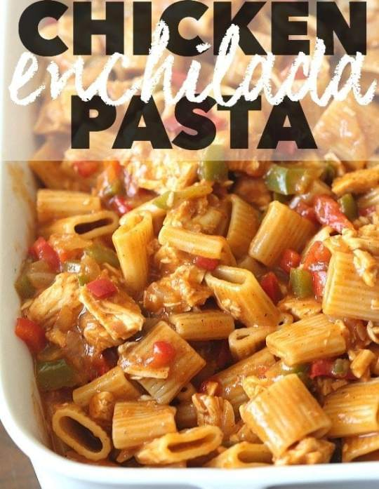 This easy Chicken Enchilada Pasta is loaded with flavor, easy to prepare and will feed a crowd!