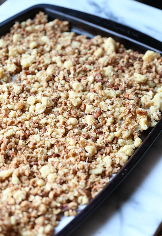 This Coffee Cake Granola combines the best part of the coffee cake, THE CRUMB TOPPING, with a honey sweetened, buttery, crunchy granola!