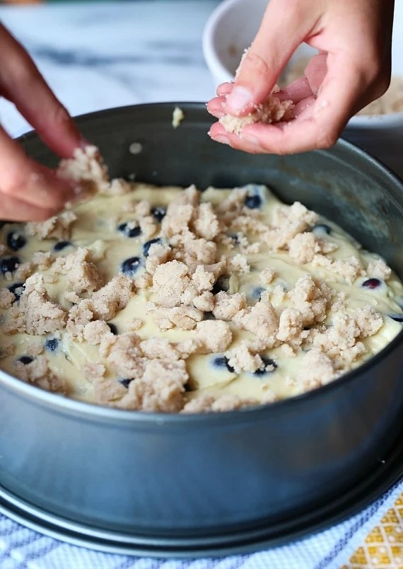 Making Blueberry Muffin cake!