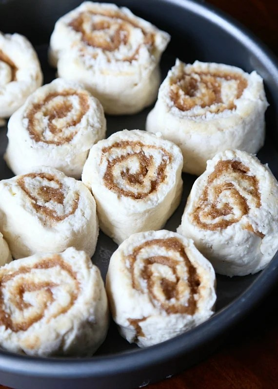 Cinnamon Biscuit Rolls ready to go in the oven!