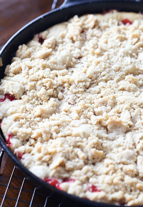 Strawberry Buckle baked in a skillet!