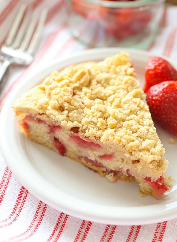 This Strawberry Buckle Recipe is moist, dense and topped with delicious crumb topping!