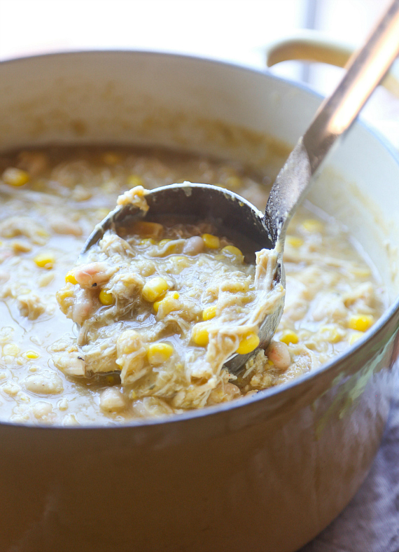 Super Easy White Chili made with shredded chicken! Super low fat and loaded with protein!
