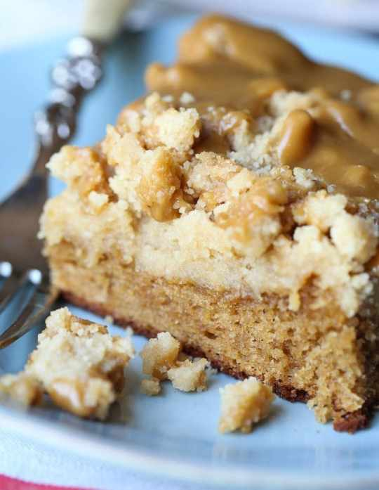 Brown Sugar Crumb Cake. A rich and soft brown sugar cake topped with a thick layer of brown sugar crumb AND topped with a brown sugar icing.