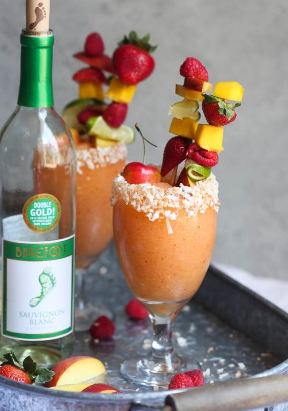 Frozen White Sangria made with Barefoot Sauvingnon Blanc! Such a fun party drink!