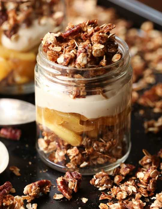Individual APple Crisp Trifles. Perfect for a fall gathering, with crunchy praline crisp, brown sugar cream cheese filling and sautéed apples. All the elements can be prepared days in advance, which make it as easy as it is delicious!