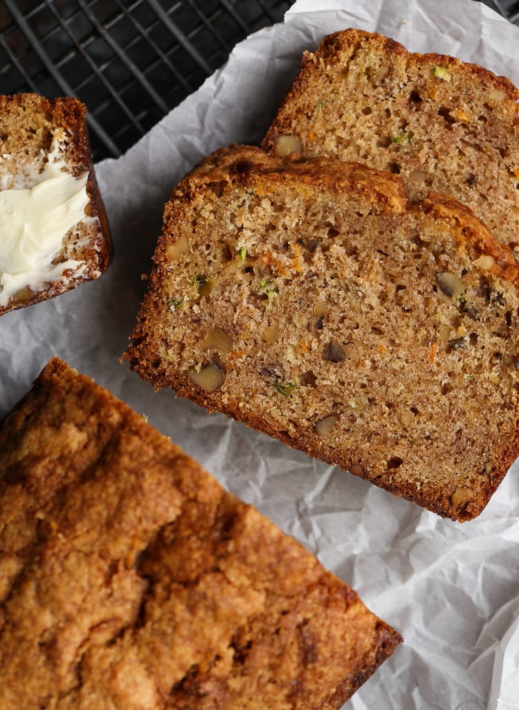 Autumn Bread is an ultra moist quick bread/cake that's a combination of zucchini bread, banana bread, and carrot cake! The perfect fall treat!