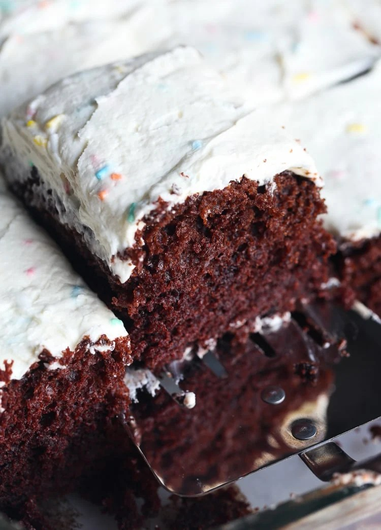 WACKY CAKE! This is an egg and dairy free cake recipe (without the frosting). You make it right in the cake pan, so NO MESS! You don't even grease the cake pan!