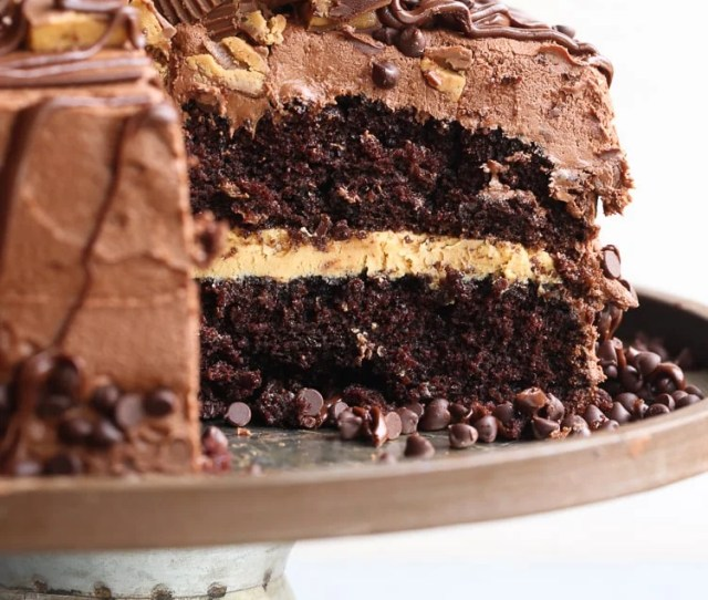 Insane Peanut Butter Cup Cake A Fudgy Chocolate Cake With Creamy Peanut Butter Filling And