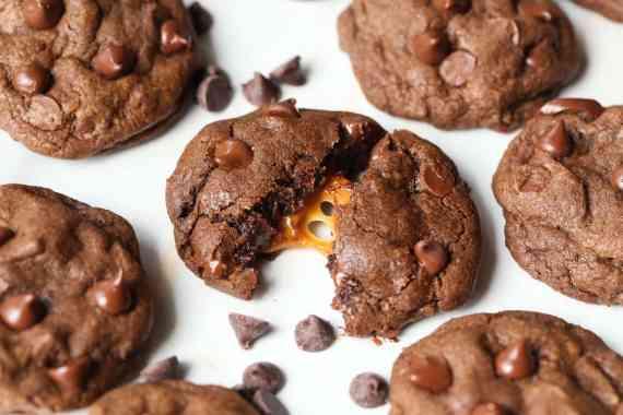 Double Chocolate Caramel Stuffed Cookies