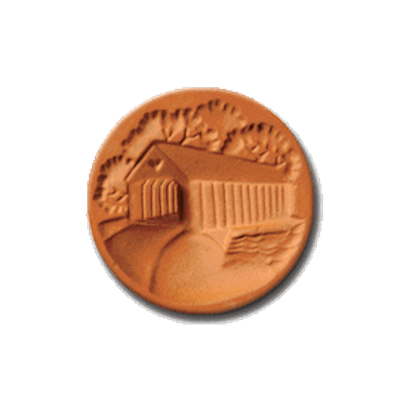 1070 Covered Bridge Cookie Stamp | CookieStamp.com