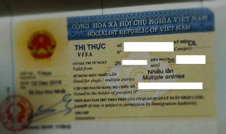 Vietnam tourist visa sticker