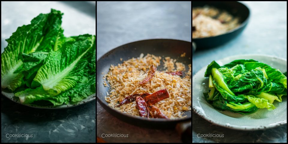 3 images showing the steps to make Indian Green Chutney with Leftover Lettuce Leaves