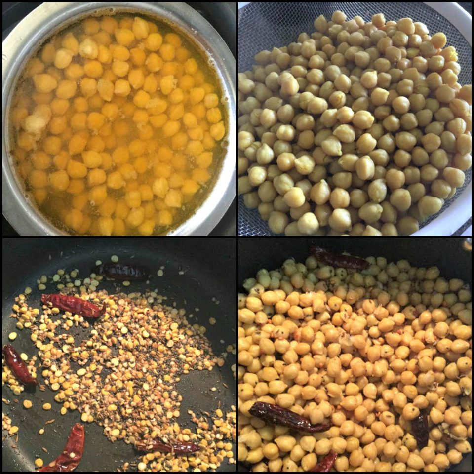 4 images showing how to make chickpeas sundal vegan snack