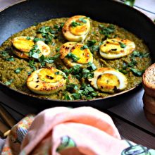 Kolhapuri Green Masala Egg Curry - Spicy and Fiery