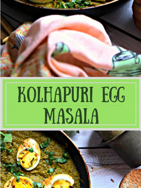 2 images of Kolhapuri egg masala with text in the middle