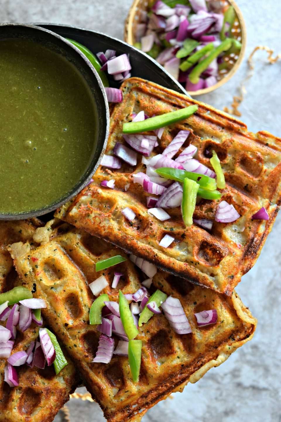 Hummus Flavored Mashed Potato Waffles for Breakfast!Appetizers & Snacks Power Breakfasts